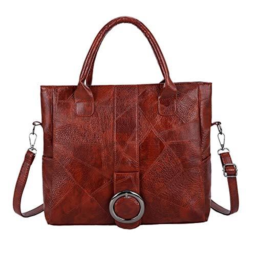BALABUE Mode Damen Einfarbig Grosse Kapazität Reißverschluss PU-Leder Schultertasche Handtasche Frau Große Umhängetasche Tragbare (Kaffee)