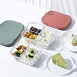 Delgeo Recipientes de Cristal para Alimentos con 3 Compartimentos y Cubiertos | 1050ml X 3 | 97% Embalaje de plástico eliminado | Envases Cristal Alimentos | (Verde)