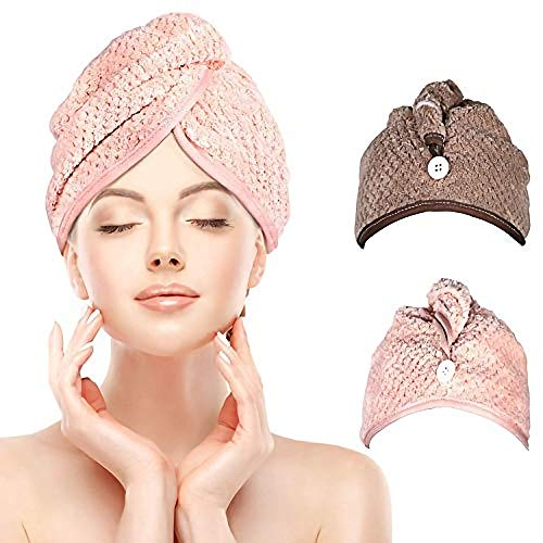 iwobi Lot de 2 Cheveux Serviette Microfibre pour Un Séchage Rapide des Cheveux