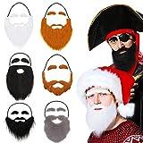 Syhood 6 Piezas Barbas Postizas con Ceja Bigotes Falsos Divertidos Bigotes Falsos Barbas de Navidad Halloween para Fiesta de Disfraces