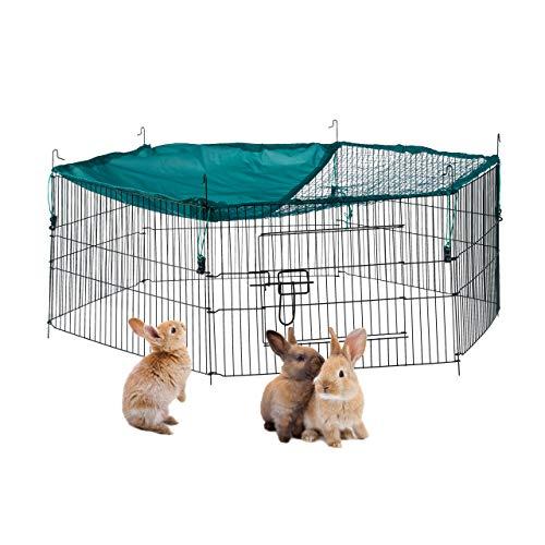 Relaxdays Recinto per Conigli con Copertura in Rete, Recinzione per Roditori, con Parasole, D 110 cm, Verde