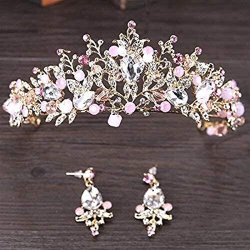 KEEBON Pearl Pearl Pearl Coronas Nupciales Hecho a Mano Novia Diadema Cristal Boda Diadema Queen Crown Bodas Accesorios para el Cabello Pulseras Pendientes Collares