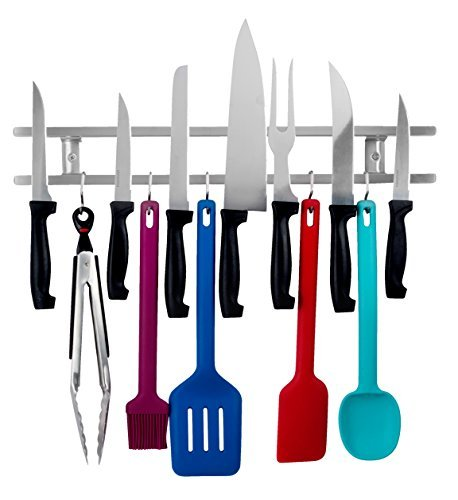 18 Inch Stainless Steel Knife & Utensil Holder With 7 Hooks - Wall Mounted Magnetic knife Strip - Includes Assembly instructions, Hardware & A Mini Level for Easy installation - By Wellington Wares