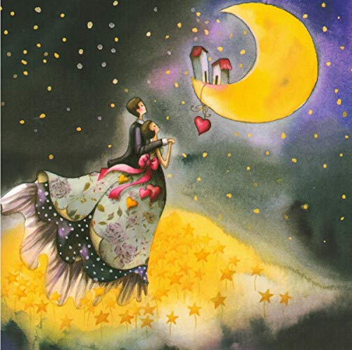 Postkarte 14x14cm Nina Chen *** Paar blickt auf den Mond