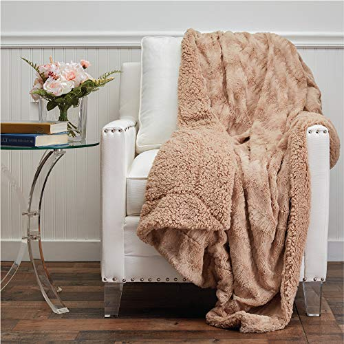 The Connecticut Home Company Faux Fur with Sherpa Reversible Throw Blanket, Many Colors, Super Soft, Large Plush Luxury Blankets, Warm Hypoallergenic Washable Couch or Bed Throws, 65x50, Beige