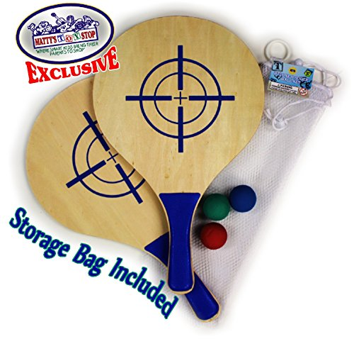 Matty's Toy Stop Deluxe Wooden Paddle Ball Game Set with 3 Solid Rubber Balls & Mesh Storage Bag