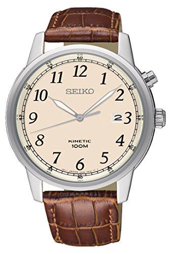 Seiko Reloj Analógico para Hombre de Kinetico con Correa en Cuero SKA779P1