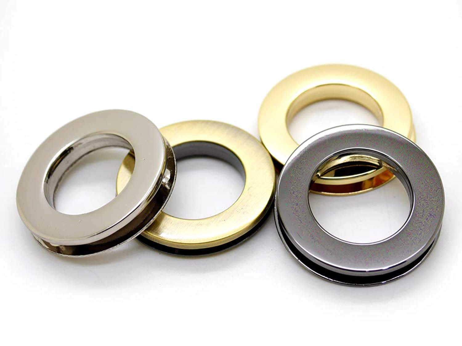 CRAFTMEmore 4pcs Metal Screw O-Rings Eyelet Round Flat Surface Purse Loop Replacement Leather Accessories (Brushed Brass, 1 Inch)