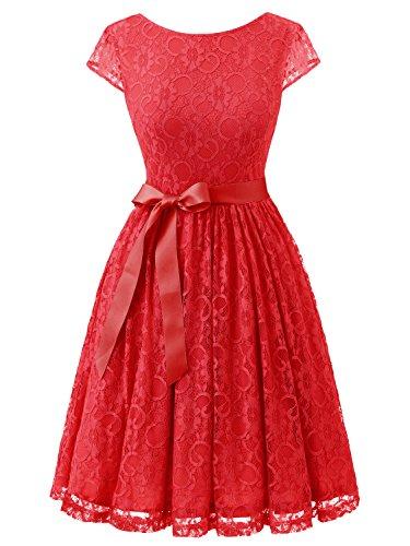 IVNIS RS90033 Damen Vintage Spitzen V Rücken Kurze Brautjungfern Party Kleid Abschlussballkleider Cap Ärmeln Red L