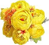Decpro 1 Paquete de Ramo de peonías Artificiales, Flores de peonías Grandes de Seda de 19'' con capullos para Bodas, oficinas, hoteles, decoración, centros de Mesa, arreglos Florales(Amarillo)