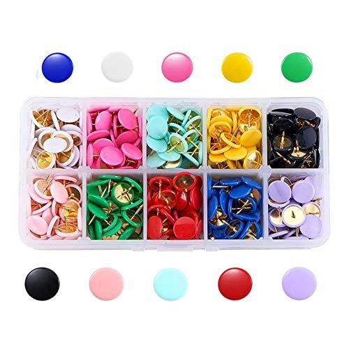 Febbya Chinchetas,300 Pack Push Pins Metal Chinchetas de Mapa con Cabezas Redondas y Agujas de Acero para Corcho Tablero Foto Memorándum 10x10mm INOX 10 Colors