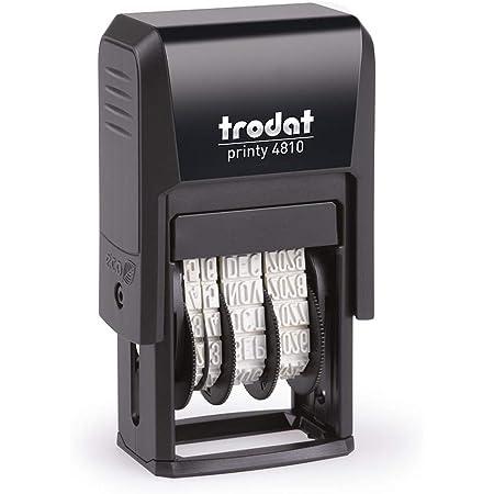 Trodat Printy 4810 Timbro Datario Autoinchiostrante Italiano, Mese in Lettere, Altezza Data 3.8 mm, Nero