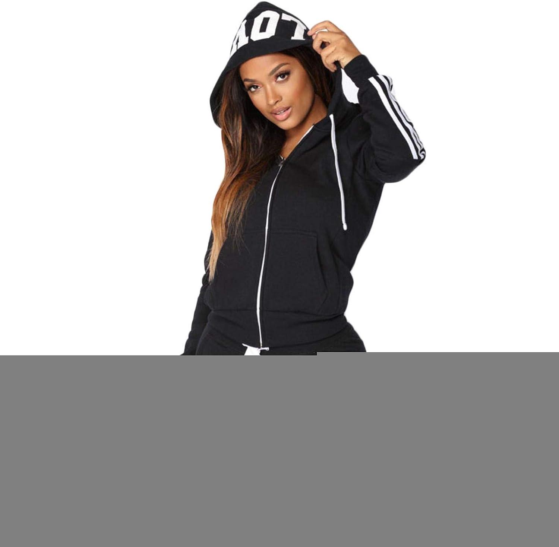 KxZIIqWB Women Stripe Sports Suits 2 Piece Set Hooded Jogging Sport Set