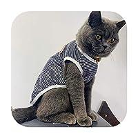 Petsupplies 春の夏の猫の服綿の縞模様のベストペット猫Tシャツの服のための服服のためのかわいい子猫子犬犬の衣装 -Black stripe-M