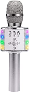 Verkstar Upgraded Wireless Bluetooth Karaoke Microphone with Controllable Colorful LED Lights, Portable Handheld Speaker Mic Machine Gift for Birthday/Graduation/Party/family(silver)