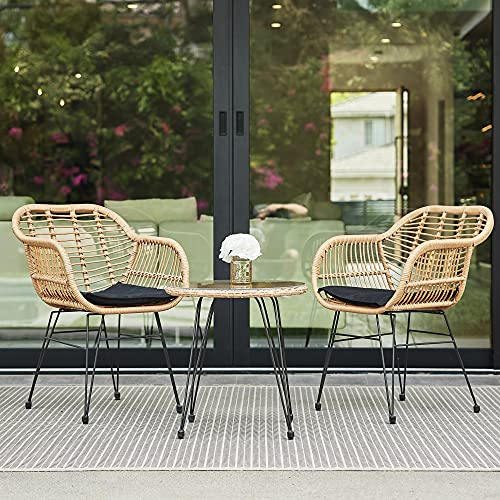 BELLEZE 3-Pieces Outdoor Patio Wicker Chair Bistro Set Cafe Coffee Table UV Resistant w/Seat...