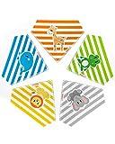 KOKOLIO® Bibzoo Baby Lätzchen (5er Spucktuch Set Für Babys), Größenverstellbares Dreieckstuch, Weiches & Wasserdichtes Halstuch Für Babys (Baumwolle & Fleece), Baby Bandana, Unisex