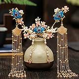 Cabello de oro de la horquilla china tradicional para el cabello de la boda accesorios para el cabello de la boda de la diadema de la cabeza del tocado de la cabecera del cabezal del cabezal del cabez