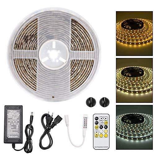 Luces LED 5 metros, kit de tira de luz LED blanca blanca a prueba de agua, 300 SMD 5050 LED con control remoto de 15 teclas RF, hogar, cocina, adaptador de alimentación decorativo interior y exterior.