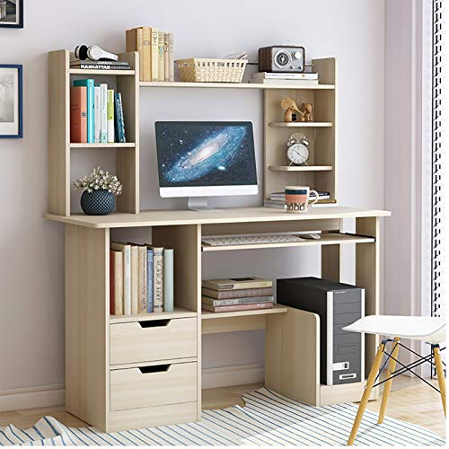 TIYKI Compact Computer Desk,With Bookcase 2 Storage Drawers Keyboard Tray Computer Table,Ergonomic Home Desk-Maple Cherry Wood Color 100x40x71cm(39x16x28inch)