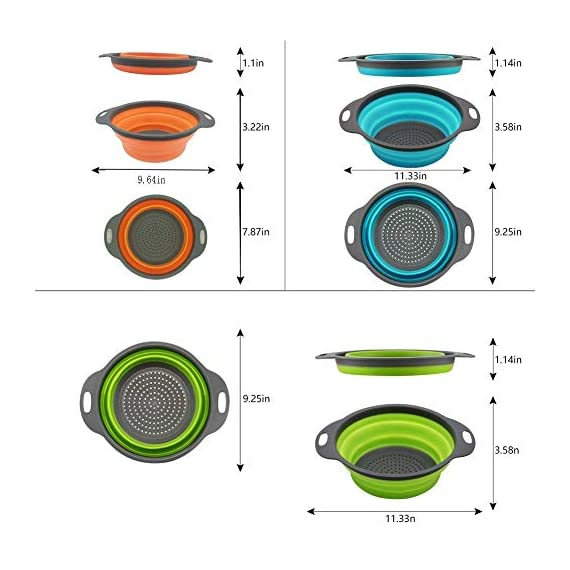 Kitchen Collapsible Colander Set of 3, HJYuan Silicone Colander Strainer Over the Sink Food Folding Water Filter Basket… 2 【 Foldable and Space Saving Design】Ergonomic, space-saving design. Strainers are foldable, so they do not take up much room in your kitchen cupboards. 【Safe and Comfortable】Using environmentally friendly Rubber and plastics materials,no smell.And it is very soft and comfortable. Closed home partner for life. 【Easy to Use】This round colander used for draining most foods like spaghetti, pasta, potatoes, broccoli, green beans, carrots, spinach and other veggies, to rinse your salad leafs, fruits and fresh vegetables.