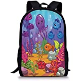 Hui-Shop Mochilas Escolares Ballena, Mundo Submarino Acuario Dibujos Animados Pulpo Arrecife Algas Piedras Burbujas Ilustración, Multicolor para niños Niñas