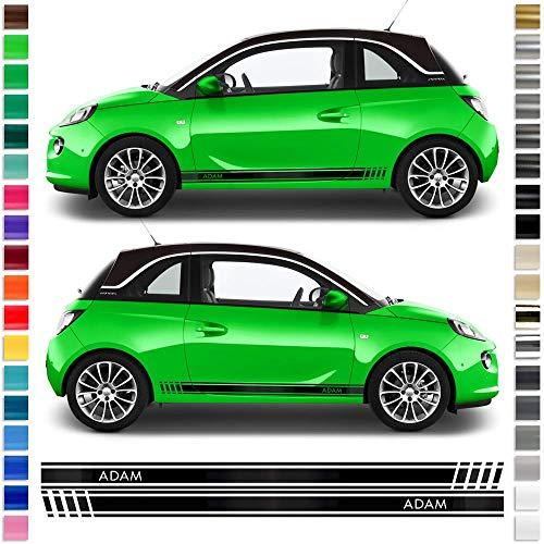 Auto-Dress® Seiten-Streifen Aufkleber Set/Dekor passend für Opel Adam in Wunschfarbe (Schwarz-Matt)