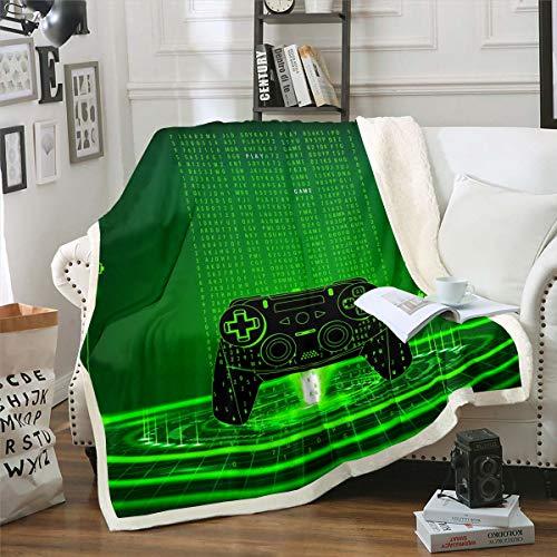 Homewish - Coperta da letto in peluche, per videogiochi, 127 x 152,4 cm, per bambini e ragazze, con joystick sherpa, per videogiochi, per camera da letto, soggiorno, colore: verde