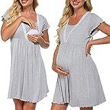 Meaneor Damen Kurzarm Stillshirt Pflege/Geburt/Krankenhaus Nachthemd Kurzarm Nachthemd Umstandsnachthemd mit Spitze Stillnachthemd für Schwangere und Stillzeit
