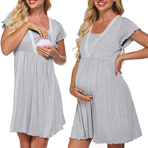 Meaneor Stillnachthemd Damen Kurzarm Pflege/Geburt/Krankenhaus Nachthemd V Ausschnitt Nachthemd Umstandsnachthemd mit Spitze Stillnachthemd für Schwangere und Stillzeit