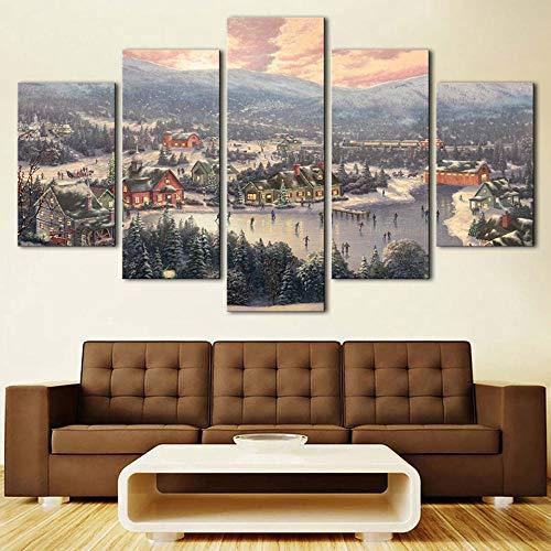 5 Piece Canvas Arte De La Lona Árbol De Nieve Cadena De Paisaje Pintura Decorativa Impresión Sala De Estar Sofá Fondo De Arte De Pared Para El Hogar 30*40Cm*2P 30*60Cm*2P30*80Cm*1P Sin Marcort-77
