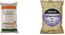 CULTIVERS Eco10F00068 Humus De Lombriz Ecológico 20 Kg (40 L). Abono para Plantas Indicado para Tomates Y Hortalizas. Fertilizante Orgánico 100% Natural + Batlle Sustratos Sustrato Vermiculita 5L