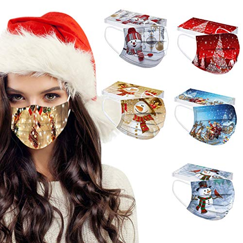 50 Pack Christmas Holiday Disposable Face_Mask, Fashionable Festival Xmas Print Mouth Protection for Women Men Adult (50 Pack/Christmas Theme/17)