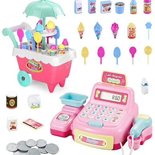 Juguetes de simulación de juguetes de simulación artificial de niños iluminación del supermercado caramelo mayores de 3 años los carros de la caja registradora de juguete para los niños de Kinder