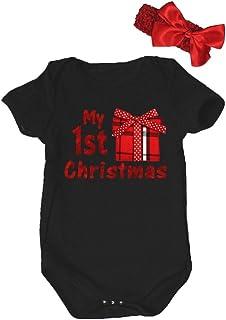Petitebella Baby Boys' My 1St Christmas Gift Box Cotton Bodysuit Romper