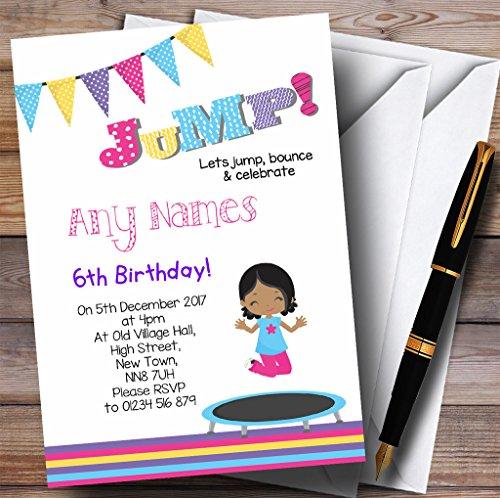 Kinderfeest nodigt donkere huid meisje Trampoline kinderen verjaardag partij uitnodigingen met enveloppen - elke aangepaste tekst voor elke gelegenheid 20 Cards & Envelopes