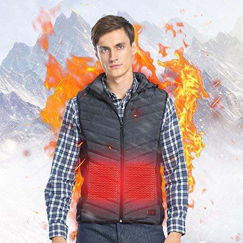 Roboraty koude winter, verwarmd vest, dons, katoen, lichte elektrische verwarming, gilet, met USB-interface, comfortabel en warm, wasbaar (perfect cadeau voor Thanksgiving) Large grijs