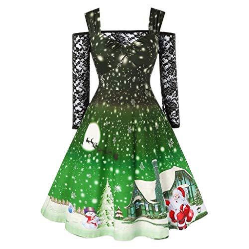 TEELONG Kleider Damen Mode kalte Schulter Spitze T Shirt Patchwork Weihnachten Print Vintage Kleid Ballkleid Partykleid Cocktailkleid(M, Grün)