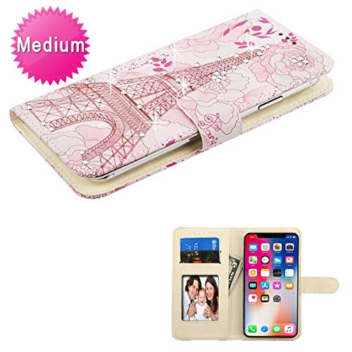 Case+Stylus, PU Leather Purse/Clutch/Wallet with ID/Credit Card Slots. Fits Universal Samsung, Apple, LG, etc. Paris Eiffel Tower - Medium, with Pink Flower and Stuffed Diamond. Fits The Models below: