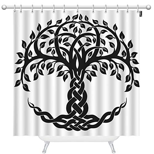 Mugod Celtic Tree of Life Shower Curtains Decorative Round Celtic Tree of Life Vector Ornament Decorative Bathroom Waterproof Fabric Shower Curtain with 12 Hooks 60 x 72 Inches