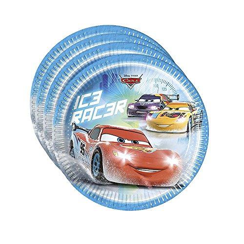 Procos 84833 – Assiettes Papier Cars Ice Racer, Ø23 cm, 8 pièces, Bleu/Rouge