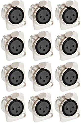 Adam Hall Connectors 7837-12er Set XLR-Einbaubuchse female 3-pol D-Typ silber Einbaukupplung