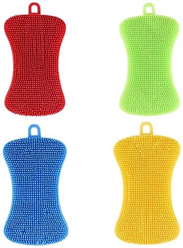 HJUK 4Pcs Silikonschalenschwamm Antibakteriell Mehrfarbig