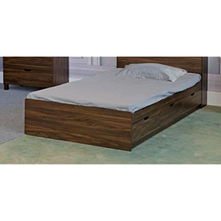 Amazon Com Benzara Bm179678 Wooden Twin Size Chest Bed With Three Drawers Dark Walnut Brown Furniture Decor