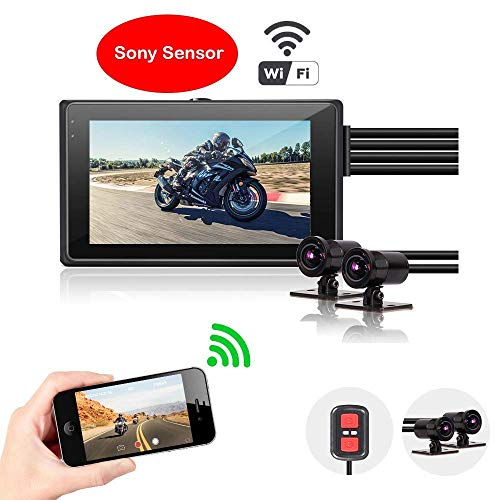 Vsysto Dash Cam Action Camera DVR Recorder System Dual HD Sony-IMX323 Lens for Sports Bike/Motorcycle with 2CH 1080P Front and Rear View Wide Angle 3.0'' LCD