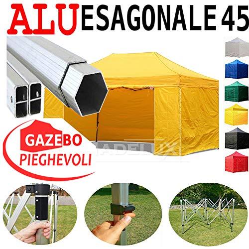 Gazebo Giallo 4,5X3 Pieghevole Alluminio A Forbice Ombrello Professionale Coldiretti Fiere PVC A Fisarmonica Piantone Esagonale