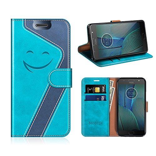 MOBESV Smiley Custodia in Pelle Motorola Moto G5S Plus, Custodia Magnetica Motorola Moto G5S Plus Cover Libro/Portafoglio Porta per Cellulare Motorola Moto G5S Plus, Aqua/Blu Scuro