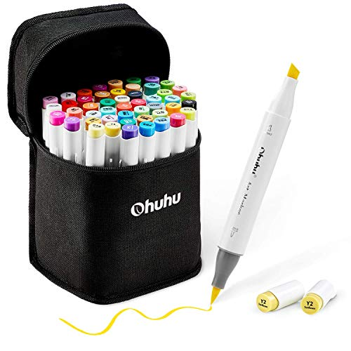 48 Colors Alcohol Brush Markers, Ohuhu Double Tipped Sketch Markers, Drawing Permanent Marker, Artist Art Markers for Sketching, Adult Coloring...