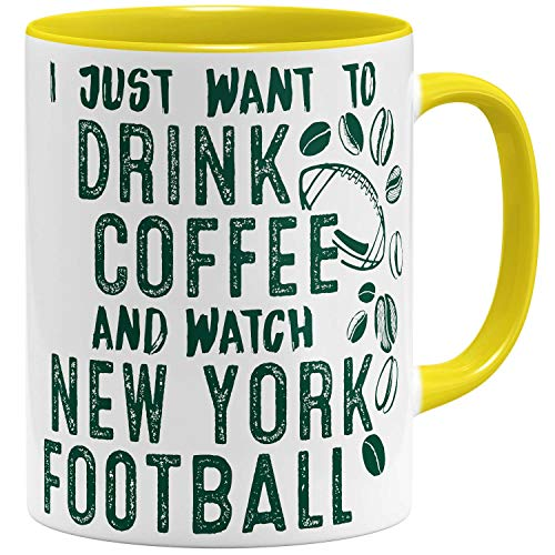 OM3® - New-York-Coffee - Tasse | Keramik Becher | American Football Mug | 11oz 325ml | Beidseitig Bedruckt | Gelb