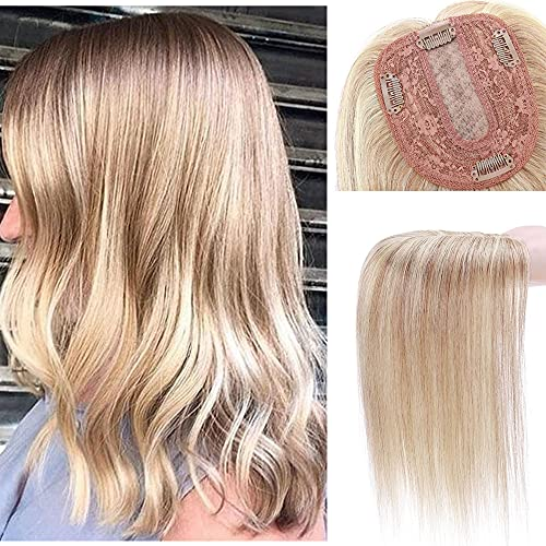 10 Inch 100% Remy Human Hair Silk Base Top Hairpiece for Women Clip in Crown Topper Hand-made Top Toppee Hair piece 120% Density Middle Part with Thinning Hair #18P613 Ash Blonde&Bleach Blonde 35g